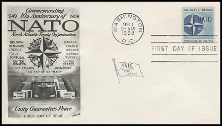 1127 / 4c NATO Fleetwood 1959 First Day Cover