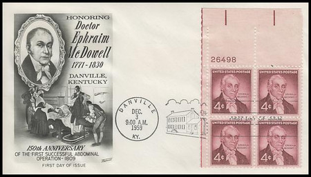1138 / 4c Dr. Ephraim McDowell Plate Block 1959 Fleetwood First Day Cover