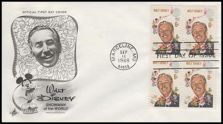 1355 / 6c Walt Disney Block of 4 Artcraft 1968 First Day Cover