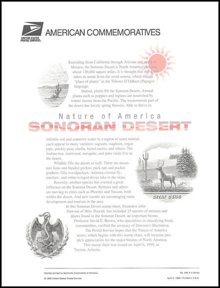 3293 / 33c Sonoran Desert Sheet of 10 ( 2 Panel Set ) 1999 USPS American Commemorative Panel Sealed #566