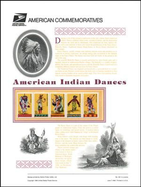 3072 - 3076 / 32c Native American Indian Dances 1996 USPS American Commemorative Panel Sealed #491