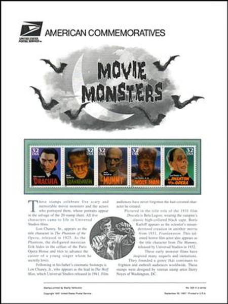 3168 - 3172 / 32c Movie Monsters 1997 USPS American Commemorative Panel Sealed #525
