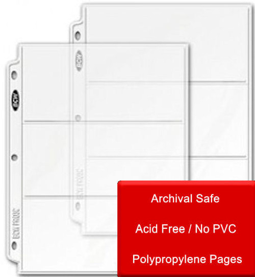 3 Pocket Clear Protector Page for 3 1/2 X 8 Currency Bills or Photos