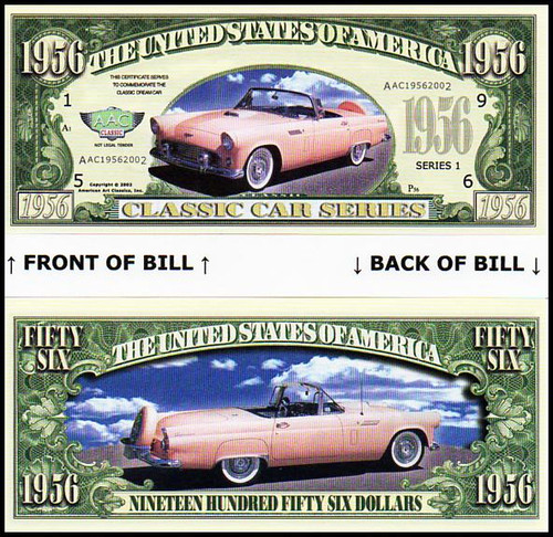 1956 Ford Thunderbird Novelty Commemorative Dollar Bill