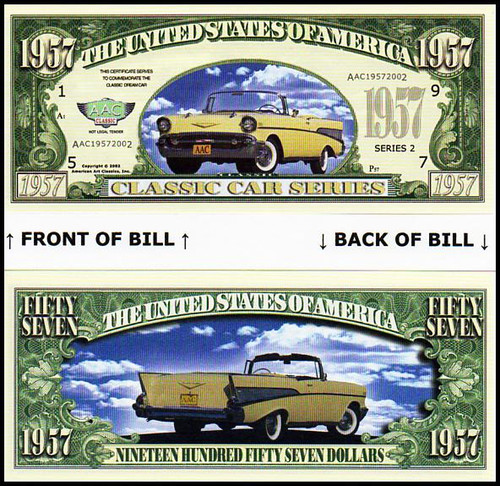 1957 Chevy / Chevrolet Convertible Novelty Commemorative Dollar Bill