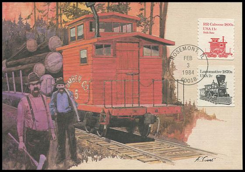 1905 / 11c Railroad Caboose 1890s 1984 Fleetwood Maximum Card