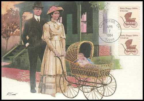 1902 / 7.4c Baby Buggy 1880s Coil 1984 Fleetwood First Day of Issue Maximum Card
