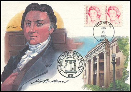 1850 / 7c Abraham Baldwin : Great Americans Series 1985 Fleetwood First Day of Issue Maximum Card