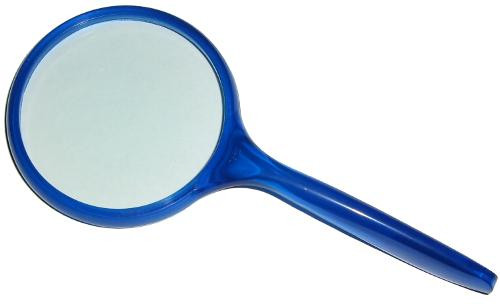 """3"""" Round 3x Hand-Held Ergonomic Magnifier / Magnifying Glass Translucent Blue Handle"""
