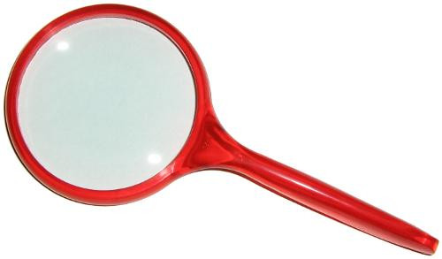 """3"""" Round 3x Hand-Held Ergonomic Magnifier / Magnifying Glass Translucent Red Handle"""