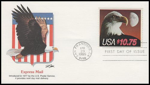 2122 / $10.75 Eagle and Half Moon Express Mail 1985 Fleetwood FDC