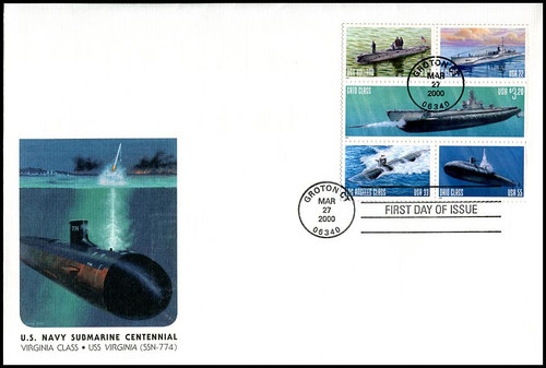 3377a / 22c - $3.20 U.S. Navy Submarines Centennial 2000 Se-Tenant Block of 5 on Oversized Large Format Fleetwood FDC