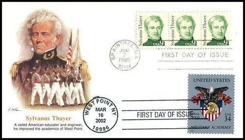 1852 and 3560 / 9c Sylvanus Thayer and 34c U.S. Military Academy at West Point Bicentennial Dual Postmark Fleetwood FDC