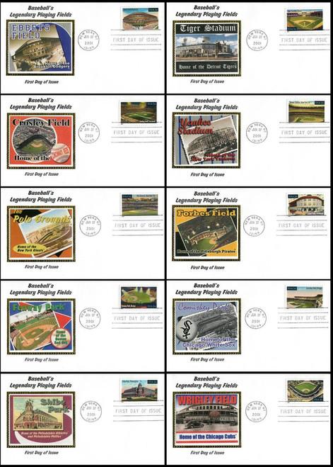 3510 - 3519 / 34c Legendary Baseball Playing Fields Set of 10  New York, NY Postmark 2001 Colorano Silk FDCs