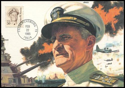 1869 / 50c Admiral Chester Nimitz : Great Americans Series 1985 Fleetwood Maximum Card