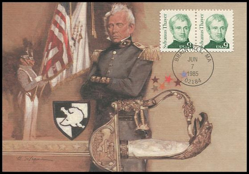 1852 / 9c Sylvanus Thayer : Great Americans Series 1985 Fleetwood First Day of Issue Maximum Card