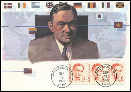 1849 / 6c Walter Lippmann : Great Americans Series 1985 Fleetwood Maximum Card