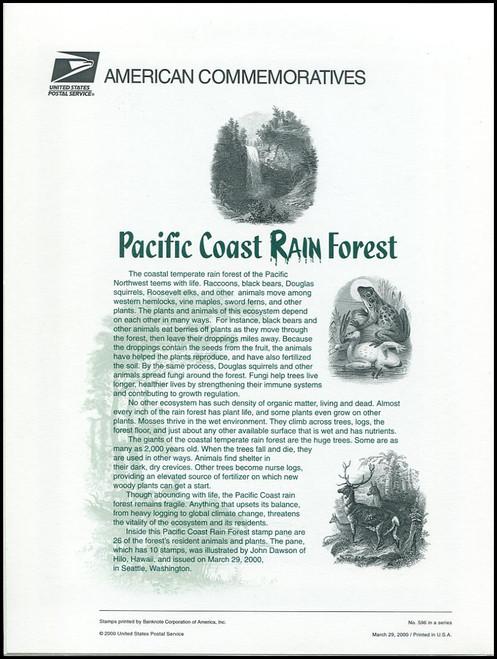 3378 / 33c Pacific Coast Rain Forest Sheet of 10 ( 2 Panel Set ) 2000 USPS American Commemorative Panel Sealed #596