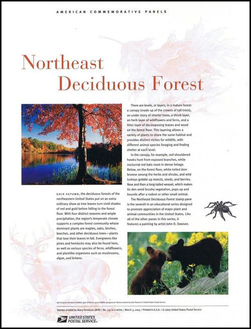 3899 / 37c Northeast Deciduous Forest Sheet of 10 ( 2 Panel Set ) 2005 USPS American Commemorative Panel Sealed #732