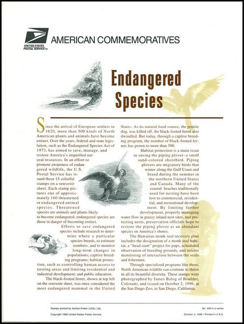 3105 / 32c Endangered Species Sheet of 15 ( 2 Panel Set ) 1996 USPS American Commemorative Panel Sealed #499