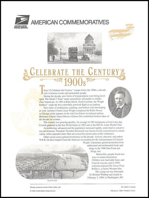 3182 / 32c Celebrate The Century ( CTC ) 1900s Sheet of 15 ( 2 Panel Set ) 1998 USPS American Commemorative Panel Sealed #533A