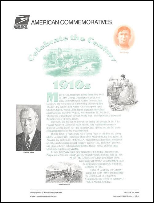 3183 / 32c Celebrate The Century ( CTC ) 1910s Sheet of 15 ( 2 Panel Set ) 1998 USPS American Commemorative Panel Sealed #533B