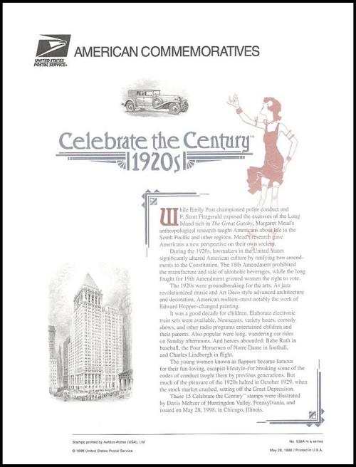 3184 / 32c Celebrate The Century ( CTC ) 1920s Sheet of 15 ( 2 Panel Set ) 1998 USPS American Commemorative Panel Sealed #538A