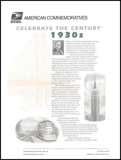 3185 / 32c Celebrate The Century ( CTC ) 1930s Sheet of 15 ( 2 Panel Set ) 1998 USPS American Commemorative Panel Sealed #551A