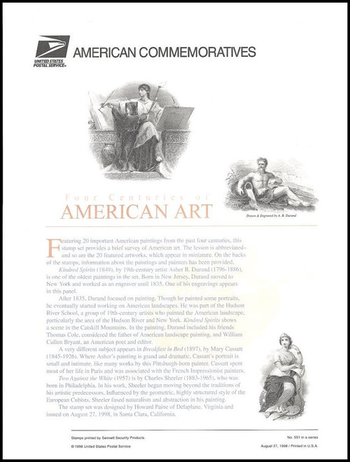 3236 / 32c Four Centuries of American Art Pane of 20 ( 2 Panel Set ) 1998 USPS American Commemorative Panel Sealed #551