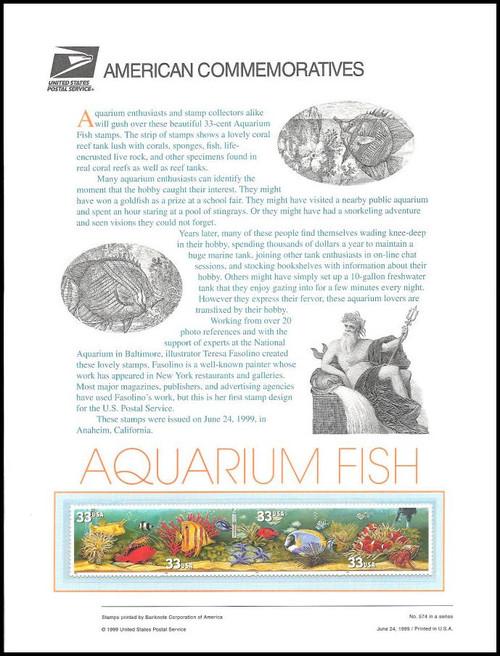 3317 / 3320 / 33c Aquarium Fish 1999 USPS American Commemorative Panel Sealed #574
