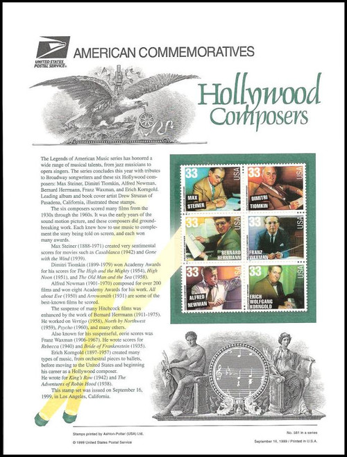 3339 - 3344 / 33c Hollywood Composers 1999 USPS American Commemorative Panel Sealed #581