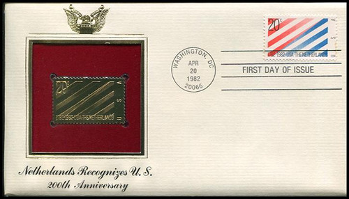 2003 / 20c U.S. - Netherlands Gold Replica 1982 Postal Commemorative Society FDC with Info Card