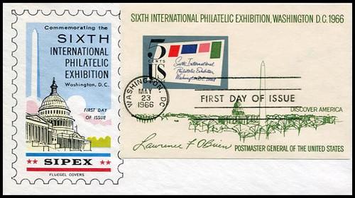 1311 / 5c Sipex Souvenir Sheet Imperf 1966 Fluegel FDC