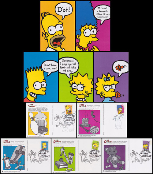 UX557 - UX561 / 44c The Simpsons 2009 Set of 5 Fleetwood Postal Card FDCs