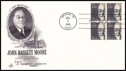 1295 / $5 John Bassett Moore Block of 4 Artcraft 1966 First Day Cover