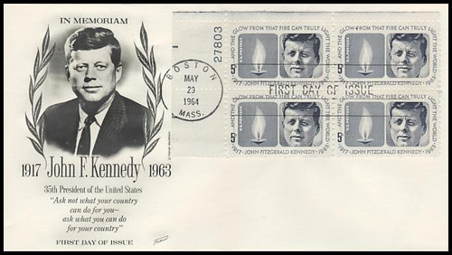 1246 / 5c Kennedy Memorial Plate Block Upper Left 1964 Fleetwood FDC