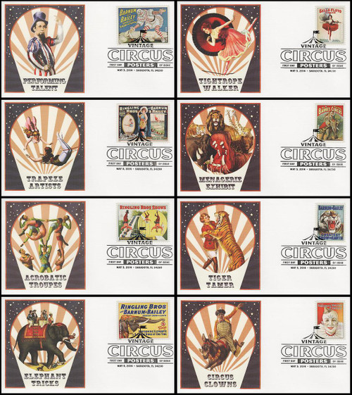 4898 - 4905 / 49c Vintage Circus Posters Set of 8 Fleetwood 2014 First Day Covers