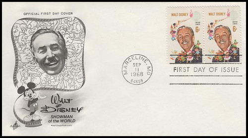 1355 / 6c Walt Disney Attached Pair Artcraft 1968 First Day Cover