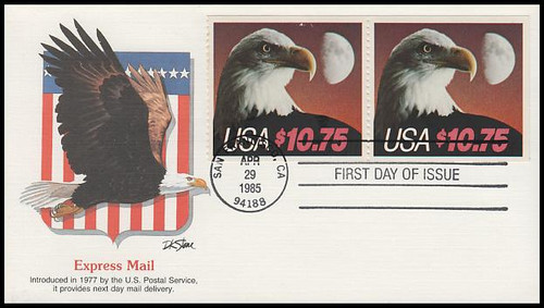 2122 / $10.75 Eagle and Half Moon Express Mail Pair 1985 Fleetwood FDC