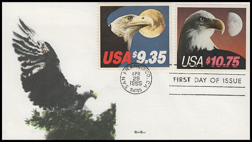 2122 / $10.75 Eagle and Half Moon Express Mail And 1909 / $9.35 Eagle and Half Moon Combo 1985 Tudor House FDC