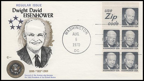1395b / 8c Eisenhower Booklet Pane : Zip Code 1972 Cover Craft Cachet FDC With Insert Card