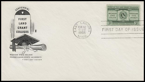 1065 / 3c Land Grant Colleges Centennial House Of Farnam 1955 First Day Cover