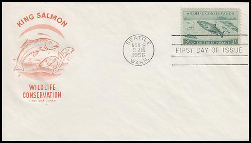 1079 / 3c King Salmon : Wildlife Conservation House Of Farnam 1956 First Day Cover