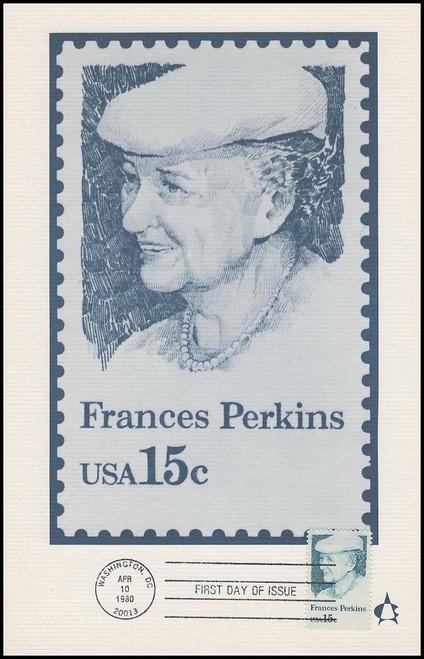 1821 / 15c Frances Perkins 1980 Andrews Cachet Maxi Card FDC