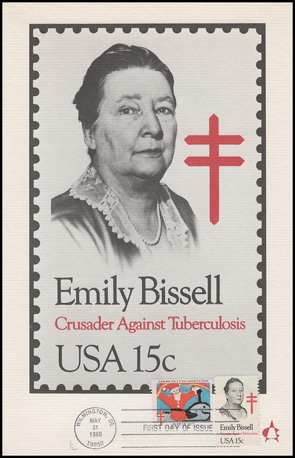 1823 / 15c Emily Bissell 1980 Andrews Cachet Maxi Card FDC