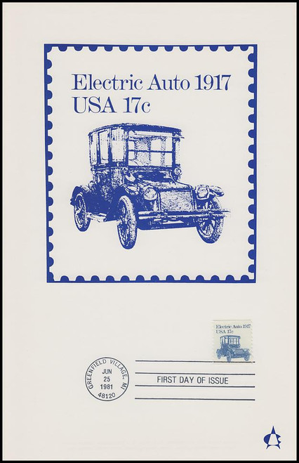 1906 / 17c Electric Auto : Transportation Series 1981 Andrews Cachet Maxi Card FDC