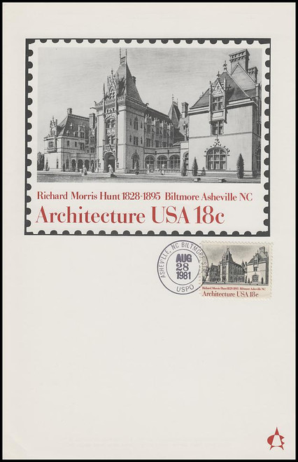 1929 / 18c Biltmore House : American Architecture Series 1981 Andrews Cachet Maxi Card FDC