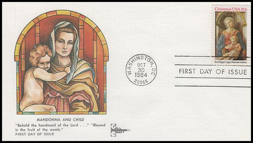 2107 / 20c  Madonna and Child : Traditional Christmas Series Gill Craft 1984 FDC
