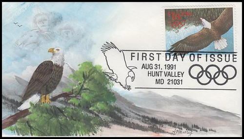 2542 / $14 Express Mail Eagle in Flight International Rate 1991 A. O. Henry Hand Painted FDC #2