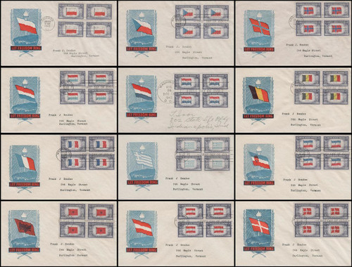0909 - 0920 / 5c Overrun Countries Blocks Of 4 Set of 12 Ioor Cachet 1943 FDCs